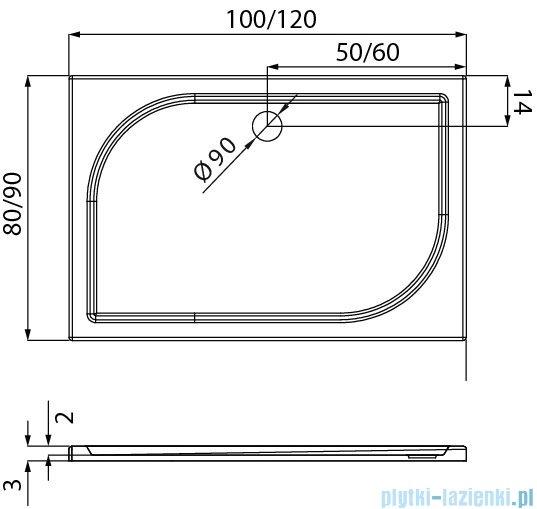 New Trendy Savos brodzik prostokątny z konglomeratu 100x80x3 cm B-0357