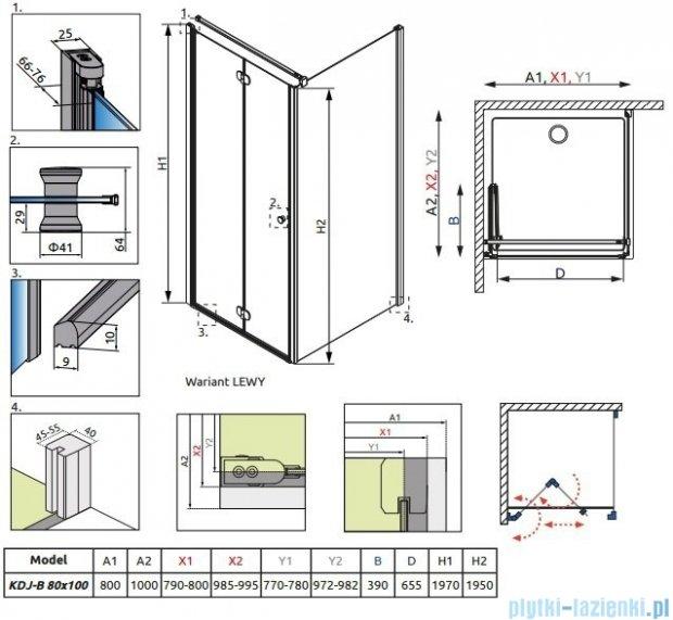 Radaway Eos KDJ-B kabina prysznicowa 80x100 lewa szkło intimato 37443-01-12NL