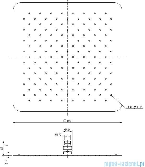 Omnires Ultra Slimline deszczownica ze stali nierdzewnej 40x40cm chrom WGU240
