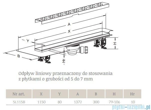Radaway Basic Odpływ liniowy 115x8cm 5L115B,5R115B