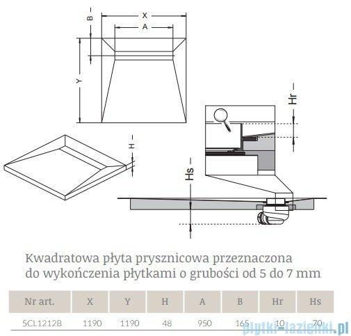 Radaway kwadratowy brodzik podpłytkowy z odpływem liniowym Basic 119x119cm 5CL1212B,5R095B,5SL1