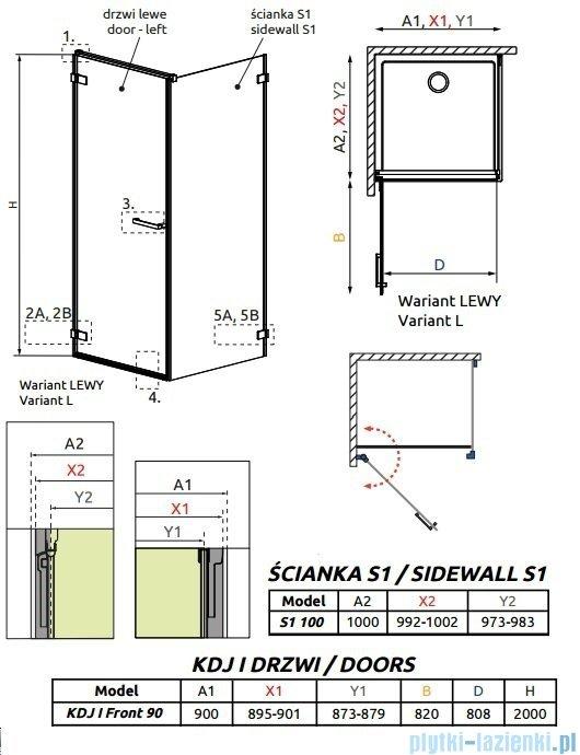 Radaway Arta Kdj I kabina 90x100cm lewa szkło przejrzyste 386082-03-01L/386022-03-01