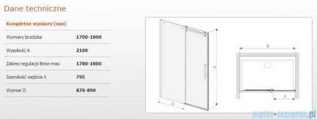 Sanplast drzwi przesuwne D2/ALTIIa-170-180 170-180x210 cm przejrzyste 600-121-1571-42-401