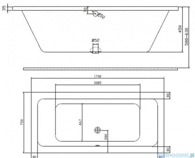 Koło Modo Wanna prostokątna 170x75cm odpływ na środku XWP1171