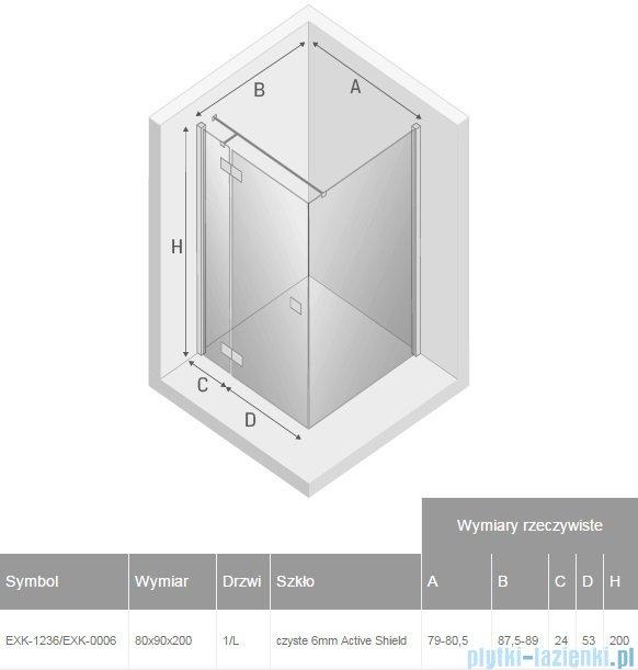 New Trendy Reflexa 80x90x200 cm kabina prostokątna lewa przejrzyste EXK-1236/EXK-0006