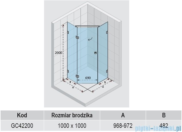 Riho Scandic S301 kabina pięciokątna 100x100x200 cm GC42200