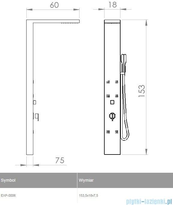 New Trendy Torus panel prysznicowy 153,5x18x7,5cm EXP-0006