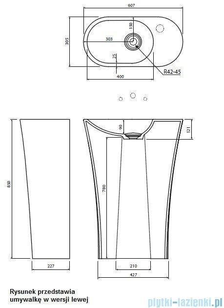 Marmorin umywalka stojąca Wega 600R biała prawa 60x30x85 cm P515060920010