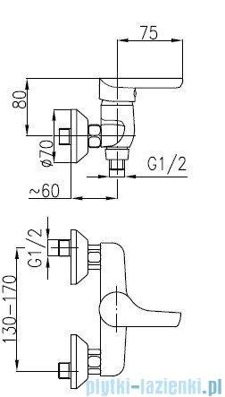 KFA OBSYDIAN Bateria natryskowa ścienna 5106-010-00
