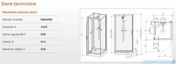 Sanplast Kabina czterościenna kompletna kpl-KCDJ/CLII-90 90x90x210 cm przejrzysta 602-011-0130-01-4B1