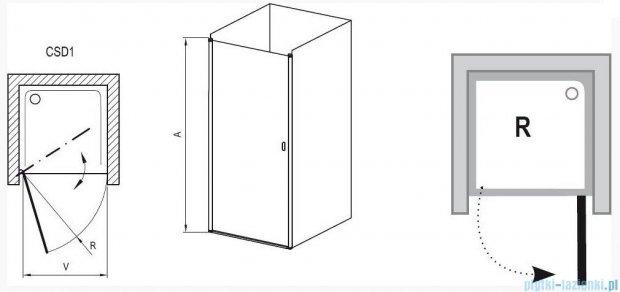Ravak Chrome Drzwi prysznicowe CSD1-90 polerowane aluminium+transparent 0QV70C00Z1