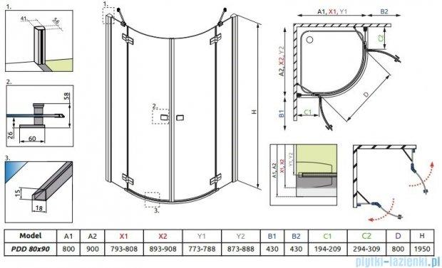 Radaway Almatea PDD E GOLD kabina półokrągła 90x80 szkło przejrzyste 30532-09-01N