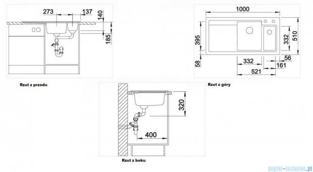 Blanco Axon II 6 S  Zlewozmywak ceramiczny komora prawa kolor: szarość aluminium z kor. aut. i akcesoriami  516550