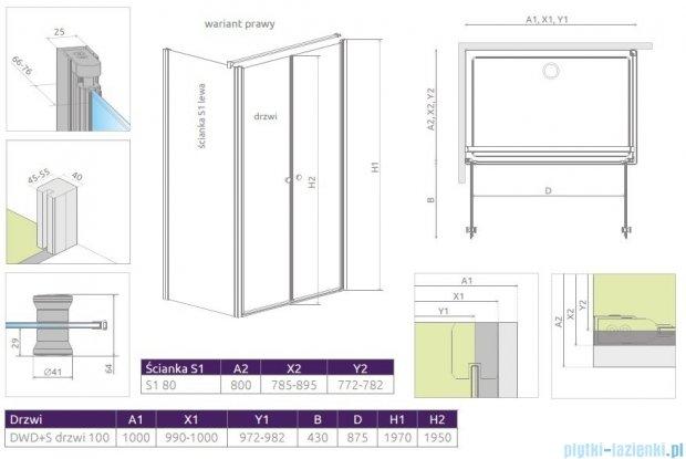 Radaway Eos II DWD+S kabina 100x80 prawa szkło przejrzyste 3799492-01/3799410-01L