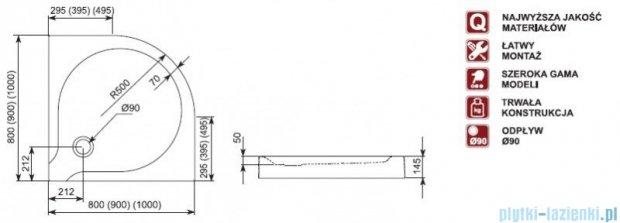 Aquaform Delta brodzik półokrągły płytki ze zintegrowaną obudową 80x80x14,5cm 06904
