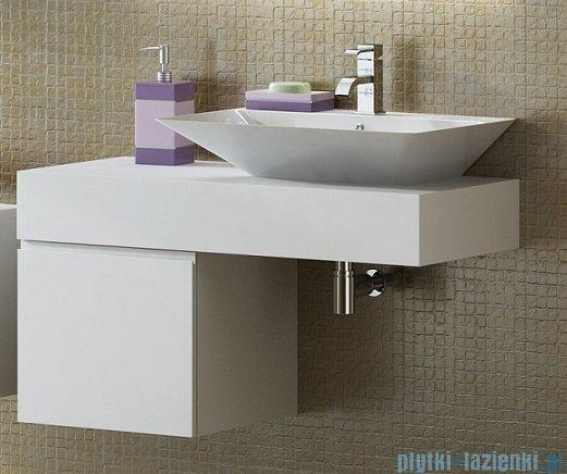 Antado Combi szafka lewa z blatem prawym i umywalką Libra biały/jasne drewno ALT-141/45-L-WS/dn+ALT-B/3R-1000x450x150-WS+UCS-TC-66