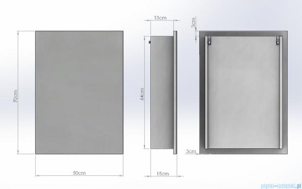 Antado Anta Szafka lustrzana 1-drzwiowa 50x15x70 lewa AN-050L