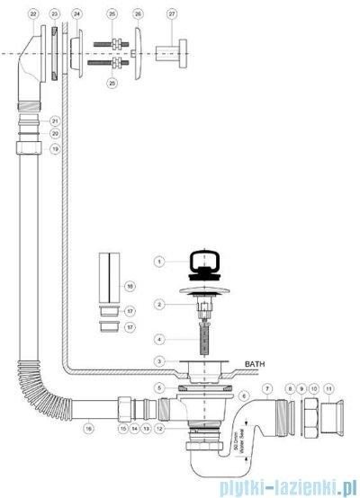 McAlpine syfon wannowy z korkiem klik-klak pokrywa antyczny brąz BRASSTRAP-50-AB