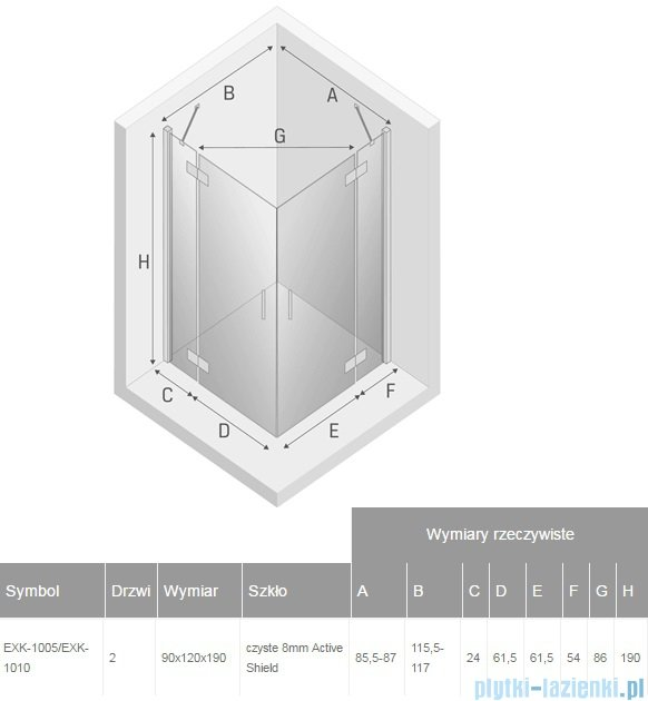 New Trendy Modena kabina prysznicowa 90x120 przejrzyste EXK-1005/EXK-1010