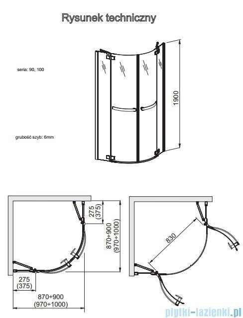 Aquaform HD Collection kabina półokrągła 100x100cm przejrzyste 100-09371