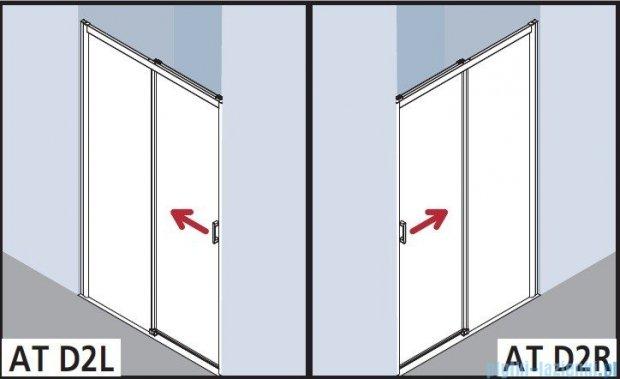 Kermi Atea Drzwi przesuwne bez progu, prawe, szkło przezroczyste KermiClean, profile białe 150x185 ATD2R150182PK