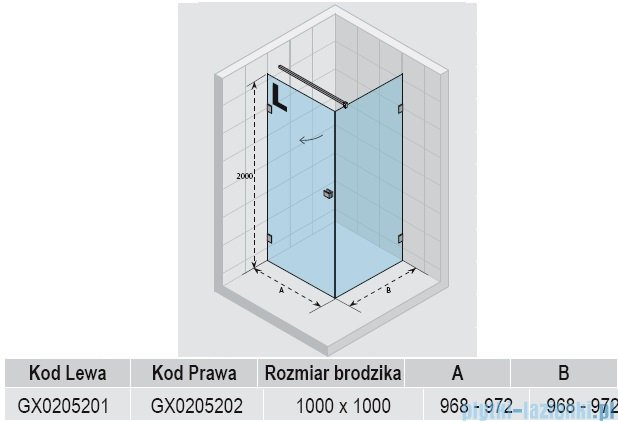 Riho Kabina prysznicowa Scandic Lift M201 100x100x200 cm PRAWA GX0205202