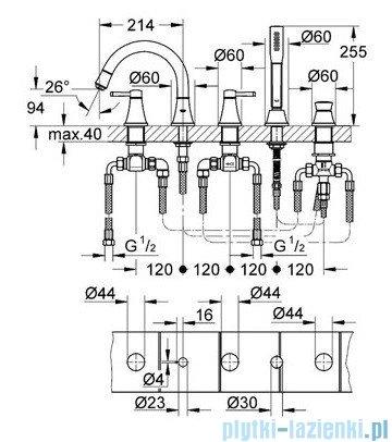 Grohe Grandera 5-otworowa bateria wannowa chrom/złoty 19919IG0