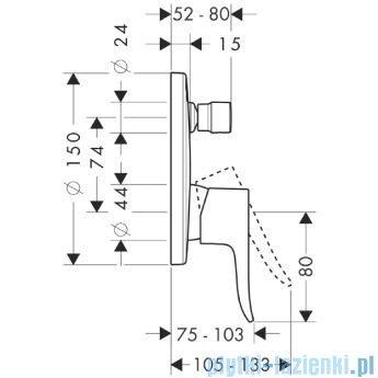 Hansgrohe Metris Jednouchwytowa bateria wannowa podtynkowa 31487000
