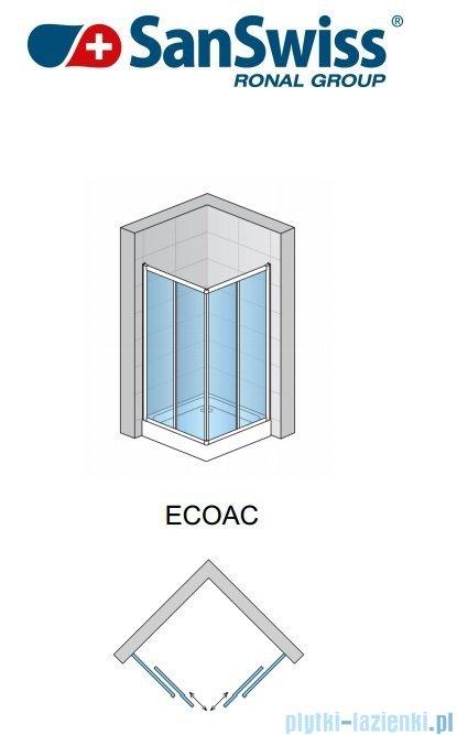 SanSwiss Eco-Line Wejście narożne Eco 80cm profil srebrny szkło przejrzyste Prawe ECOD08000107