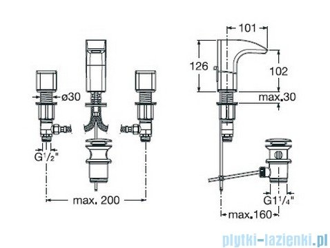 Roca Thesis Bateria umywalkowa sztorcowa 3-otworowa A5A4450C00