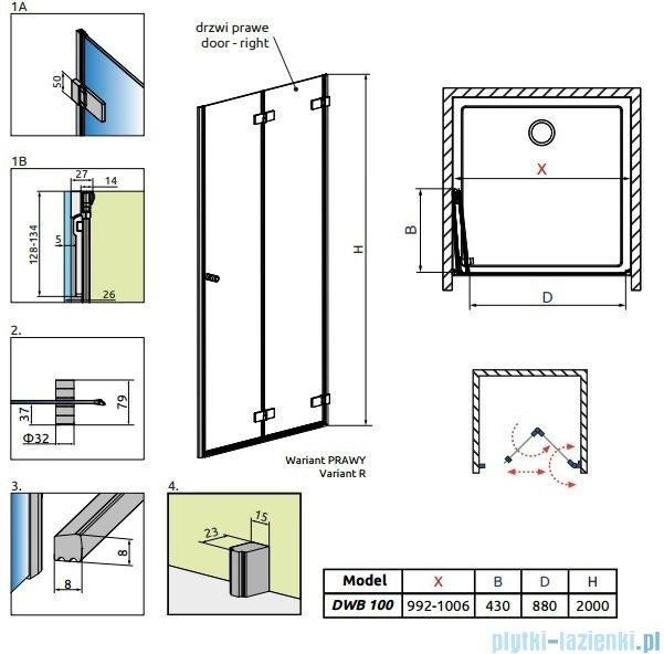 Radaway Arta Dwb drzwi wnękowe 100cm prawe szkło przejrzyste 386152-03-01R