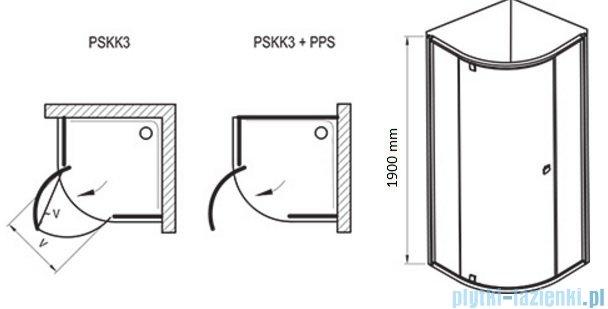 Ravak Kabina prysznicowa Pivot PSKK3 półokrągła 80x80 białe + chrom transparent 37644100Z1