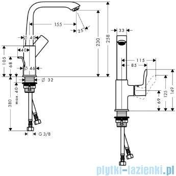 Hansgrohe Metris Jednouchwytowa bateria umywalkowa 230mm DN15 31087000
