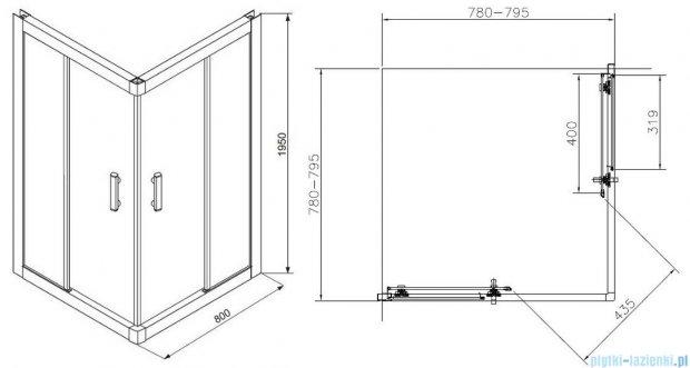 Roca Town Kabina kwadratowa szkło przejrzyste 80x80x195cm AMP160801M