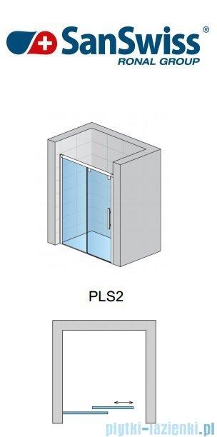 SanSwiss Pur Light S PLS2 Drzwi rozsuwane 120cm profil biały szkło efekt lustrzny Lewe PLS2G1200453
