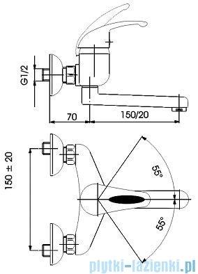 KFA PIRYT Bateria umywalkowo-zlewozmywakowa ścienna dł wylotu 150 mm chrom 440-840-00