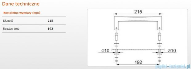 Sanplast Uchwyt do wanien ZnAl 22 długość 21,5 cm 661-A0031