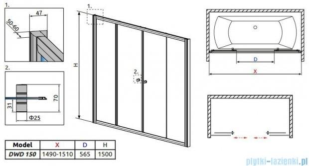 Radaway Vesta DWD Drzwi przesuwne 150 cm szkło przejrzyste 203150-01