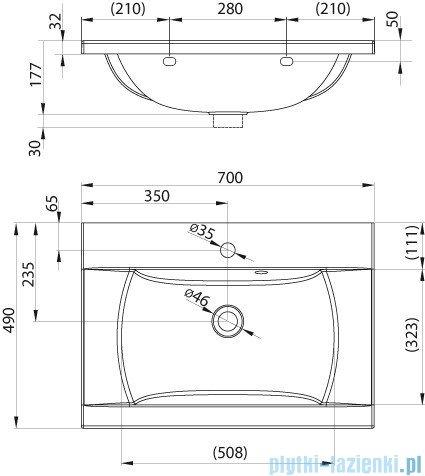 Ravak Umywalka Classic 70x49 cm z otworami XJD01170000