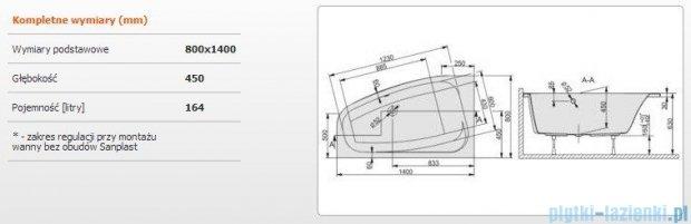Sanplast Free Line Wanna asymetryczna lewa+stelaż WAL/FREE 140x80+ST26, 610-040-0420-01-000
