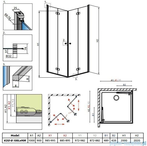 Radaway Fuenta New Kdd-B kabina 100x90cm szkło przejrzyste 384072-01-01L/384071-01-01R