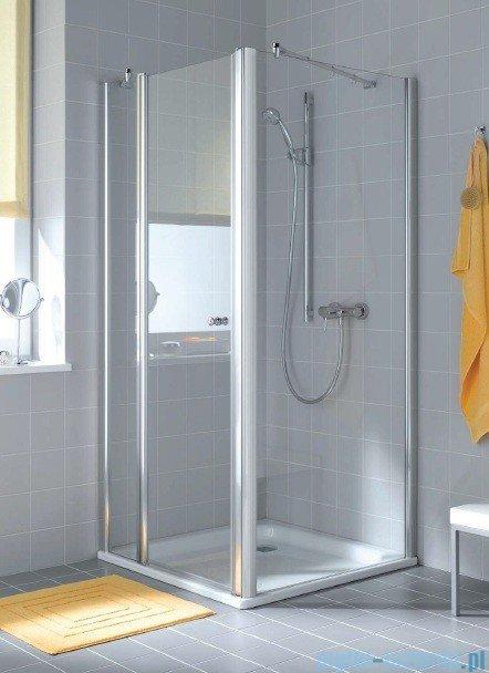 Kermi Atea Drzwi wahadłowe jednoskrzydłowe z polem stałym, prawe, szkło przezroczyste, profile białe 90cm AT1GR090182AK