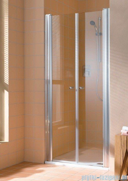 Kermi Atea Drzwi wahadłowe, szkło przezroczyste, profile białe 80cm ATPTD080182AK