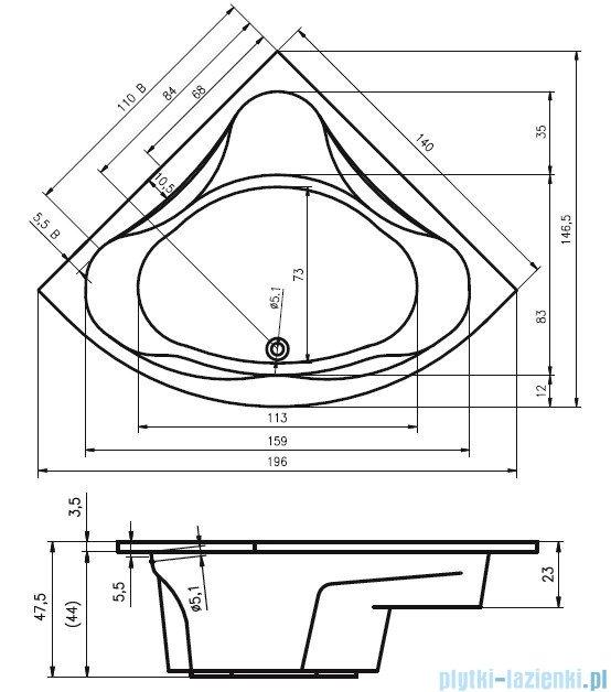 Riho Neo Wanna symetryczna 140x140 z hydromasażem TOP Aero11 BC34T1