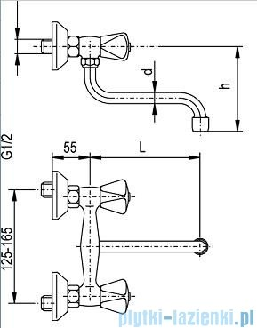 KFA STANDARD Bateria zlewozmywakowa ścienna 320-680-00