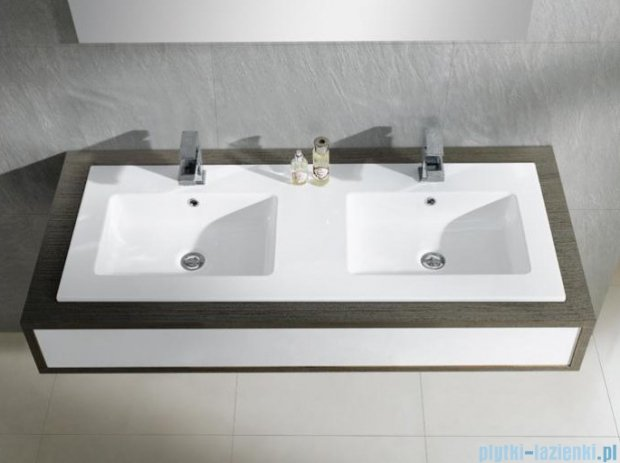 Bathco Liebana umywalka podwójna blatowa 121x46 cm 4068