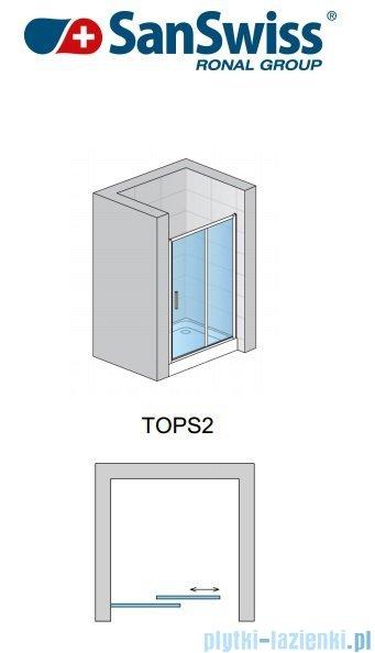 SanSwiss Top-Line TOPS2 Drzwi 2-częściowe rozsuwane 120-180cm profil połysk TOPS2SM15007