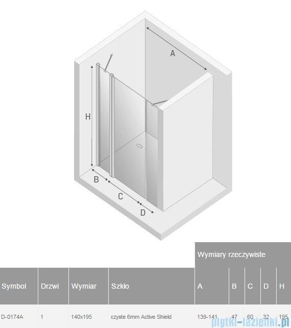 New Trendy New Soleo Plus drzwi wnękowe 140x195 cm przejrzyste D-0174A