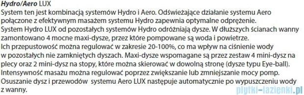 Riho Geta Wanna asymetryczna 160x90 lewa z hydromasażem LUX Hydro 4+4+2/Aero11 BA87L8