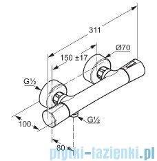 Kludi Zenta Bateria natryskowa z termostatem czarny/chrom 351008638